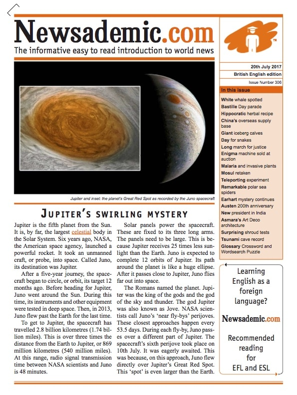 Front cover of Newsademic Issue 306 - Jupiter's Swirling Mystery (the Red Spot)