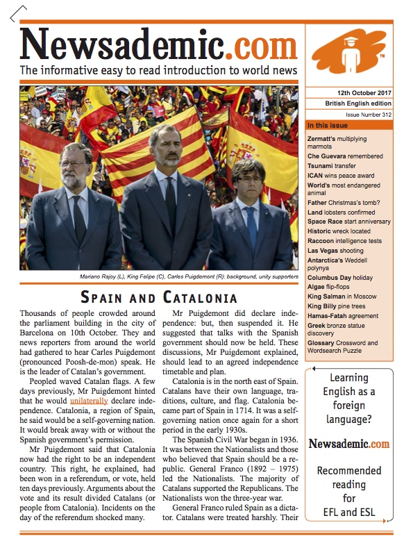 Front cover of Newsademic Issue 312 - Spain & Catalonia