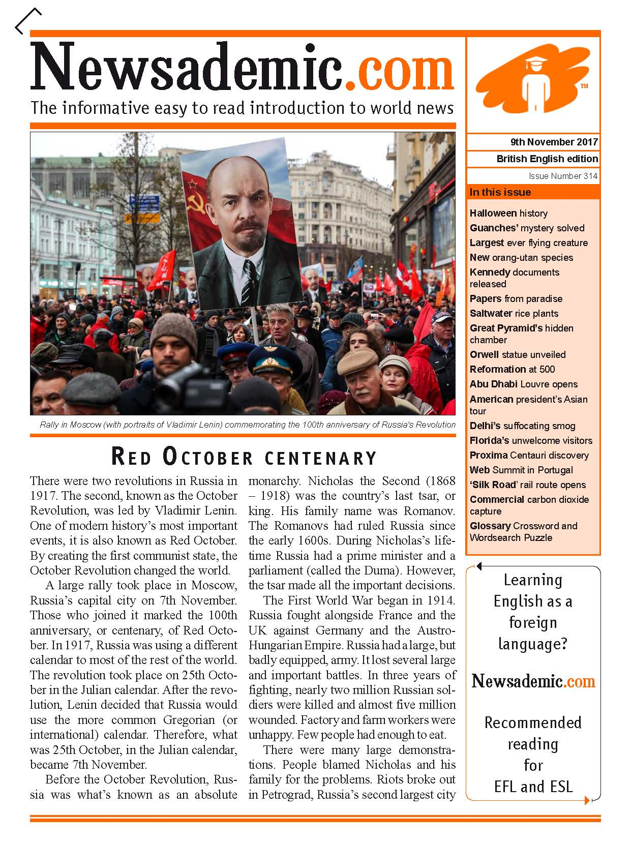 Newsademic Issue 314 Front Cover: Centenary of Russian Revolution