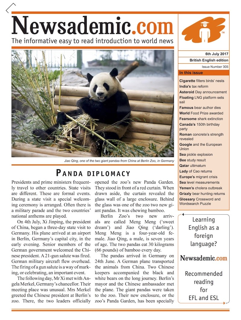 Front cover of Newsademic Issue 305 - Panda Diplomacy
