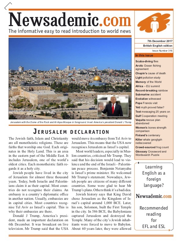 Newsademic Issue 316 front cover image: Trump's Jerusalem Declaration