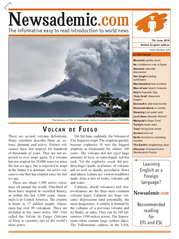 Newsademic Issue 329 Front Cover - Volcan de Fuego, Guatemala