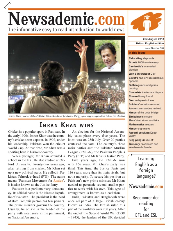 Image of Newsademic Issue 333 Front Cover Imran Khan wins in Pakistan