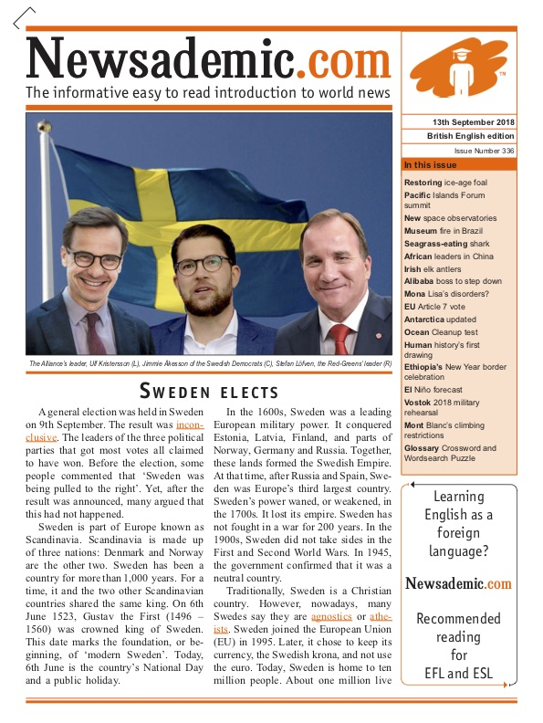 Newsademic Issue 336 Front Cover Sweden Elects