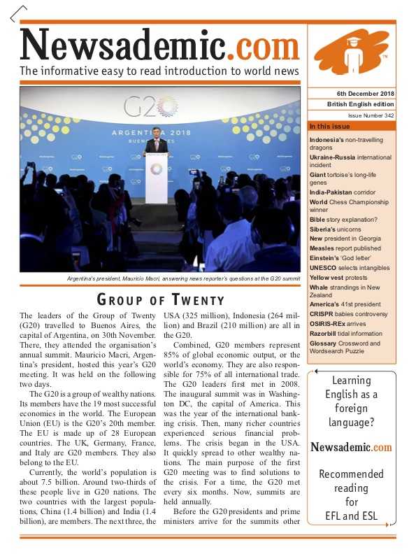 Newsademic Issue 342 Front Page G20 Summit in Argentina