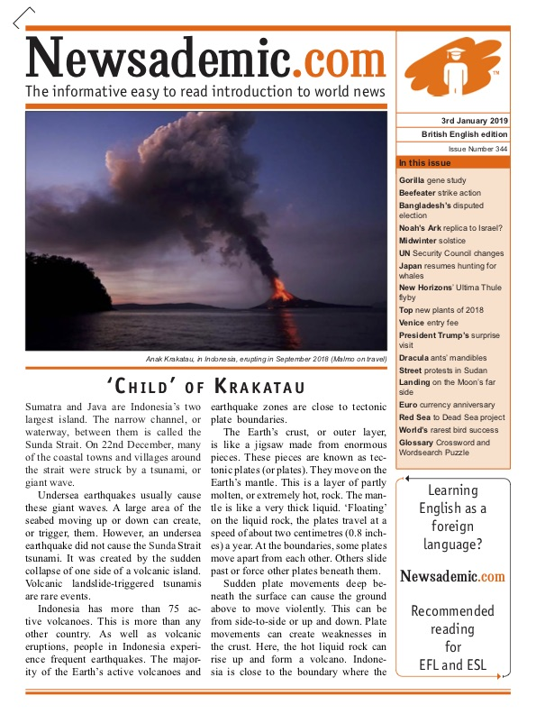 Newsademic Issue 344 Front Cover: 'Child' of Krakatau