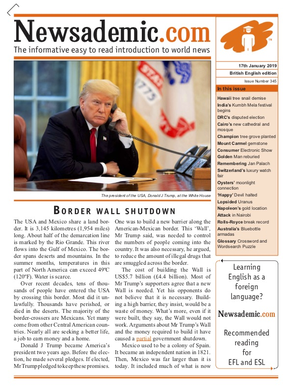 Newsademic Issue 345 Front Cover Border Wall Shutdown Donald Trump