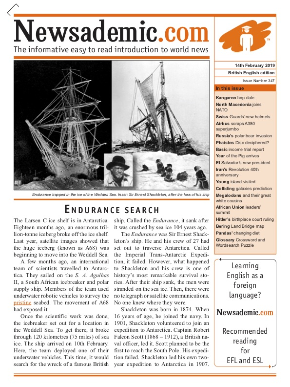 Newsademic Issue 347 front cover the search for Ernest Shackleton's ship Endurance