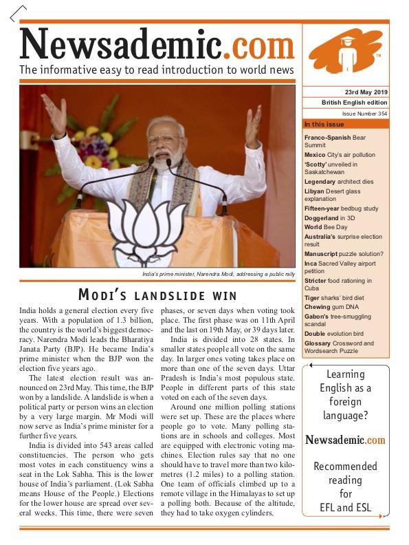 Newsademic Issue 354 Front Cover Narendra Modi's Landslide Win in India