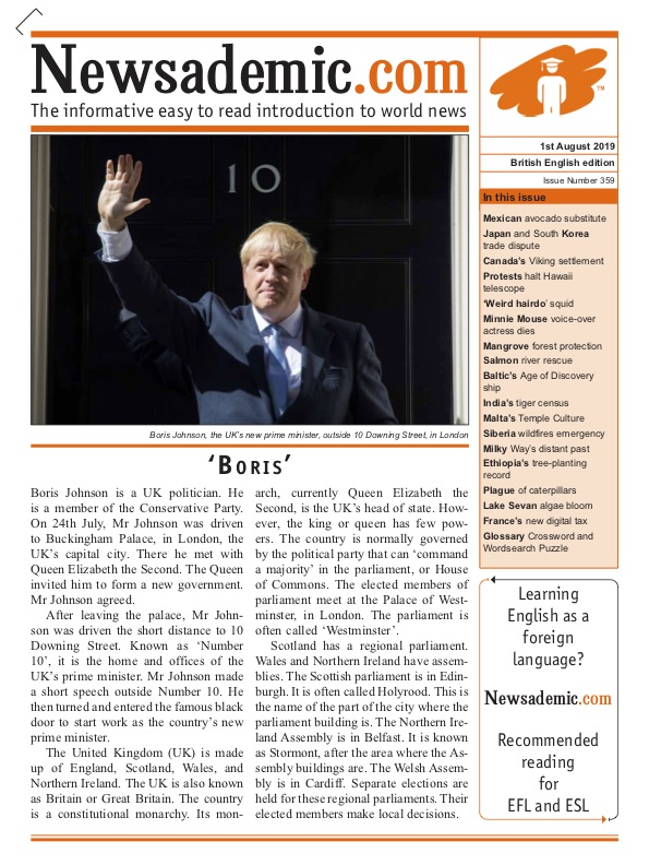 Newsademic Issue 359 Front Cover Boris Johnson becomes UK Prime Minister