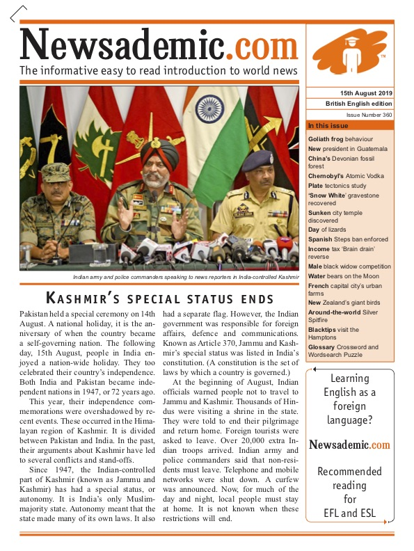 Newsademic Issue 360 Front Cover Kashmir's special status ends