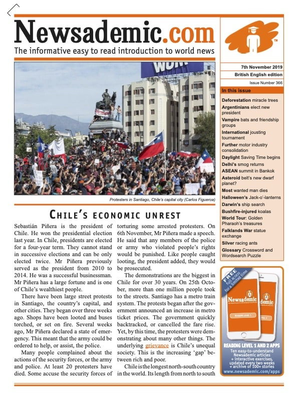 Newsademic Issue 366 Front Cover Chile's Economic Unrest