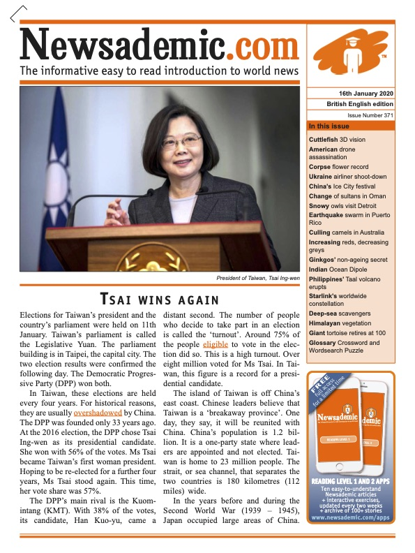 Newsademic Issue 371 Front Cover Taiwan president Tsai wins election